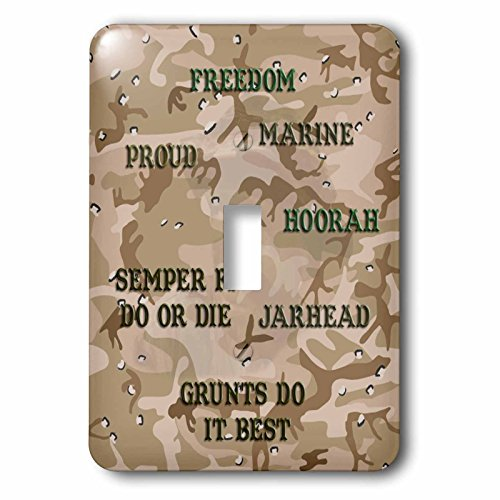 3dRose lsp_60461_1 Desert Gulf War Camouflage With Marine Sayings Single Toggle Switch,
