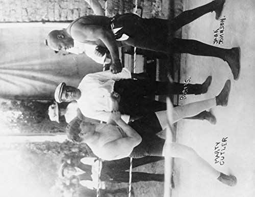 Boxers Marty Cutler and Jack Johnson - Vintage Photograph (36x54 Giclee Gallery Print, Wall Decor Travel Poster)