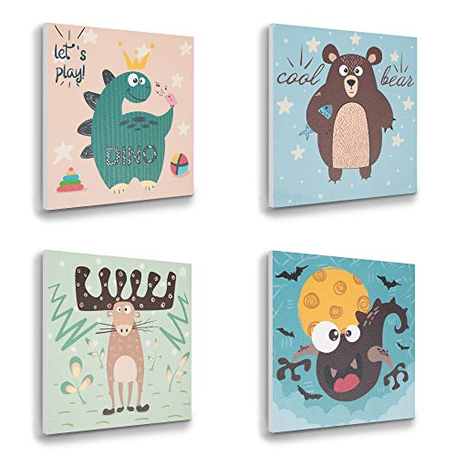 - ETIUC Set of 4 Wildlife Nursery 3D Wall Art for Boys Girls 12x12 New Born Baby Kids Room Safari Animal Sticky Paintings Wall Decor Jungle Zoo Room Dinosaur Bear Reindeer Bat Wall Sticker(Cute Animal)