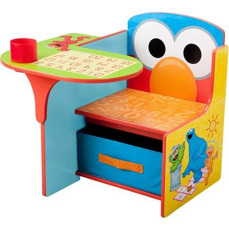 Multicolored Elmo Kiddie Chair with Writing Desk, Cup Holder and Pull-out Storage Bin - Weight Capacity: 50 Lbs; Age Range: 1-1/2 to 5 Years (Kiddie Chair)