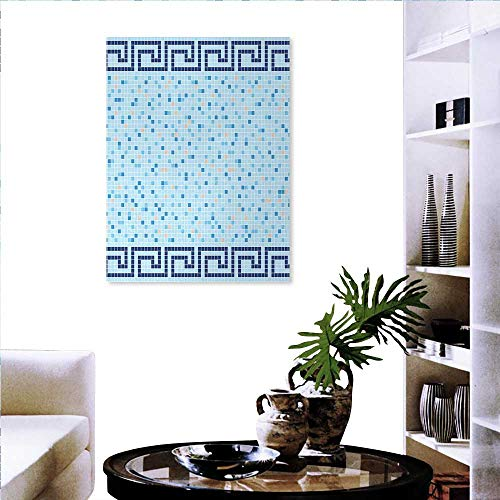 Greek Gold Design Square (Aqua Wall Decoration Antique Greek Border Mosaic Tile Squares Abstract Swimming Pool Design Customizable Wall Stickers 32