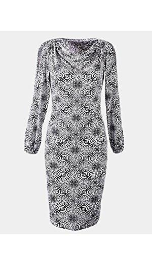 Marken Kleid schwarz-weiss Wasserfall-Ausschnitt Gr. 44, Gr. 46, Gr. 48 0114081166
