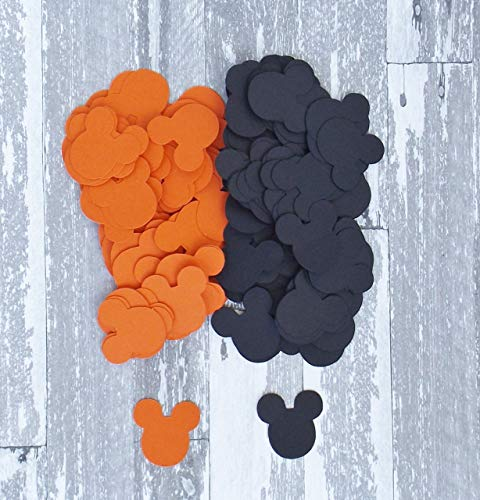 Orange and Black Halloween Mickey Mouse Party Confetti Decoration 400 Pieces ()
