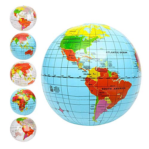 ArtCreativity Inflatable World Globe Ball Set (Set of 6), Print Blue and Clear | Colorful Earth Map, 16
