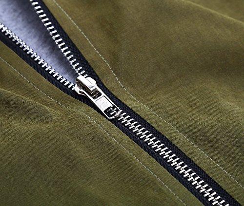 DJT Mujeres Abrigo Gabardina Impermeable de Manga Larga con Capucha Coat Jacket Verde-C17