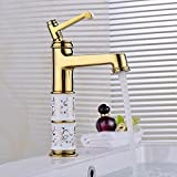 AWXJX Sink Taps European style copper Golden Wash your facePots ceramics Hot and cold Single hole Seated Single handle