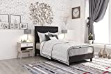 DHP 4156019 Janford Upholstered Bed with with Chic Design, Twin, Black Faux Leather