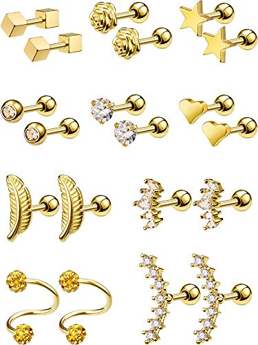 inless Steel Cartilage Earrings Tragus Helix Earrings Barbell Cartilage Stud for Women Girls, 10 Styles (Gold) ()
