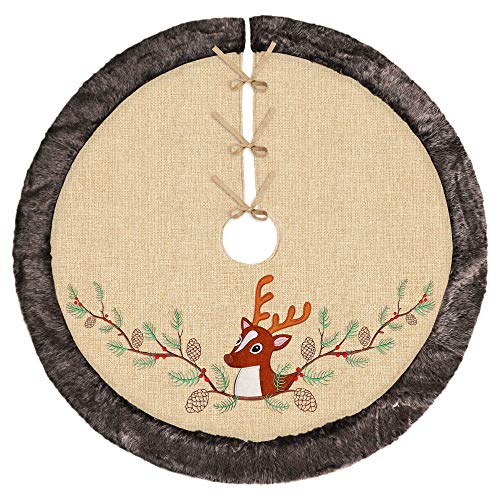 - Ivenf 48 inch Luxury Burlap Christmas Tree Skirt, Embroidered Reindeer Pine Branch Cone with Thick Faux Fur Edge, Rustic Xmas Tree Holiday Decorations