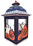 Clovers Garden Halloween Candle Lantern with Pumpkins, Spooky Ghosts, Spider Webs, Bats – Rustic, Hand Painted Wood and Glass - Decorative Candle Holder, Standing or Hanging