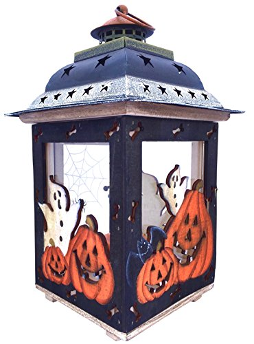 Cheap Clovers Garden Halloween Candle Lantern with Pumpkins, Spooky Ghosts, Spider Webs, Bats – Rustic, Hand Painted Wood and Glass – Decorative Candle Holder, Standing or Hanging