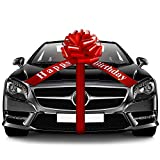 Happy Birthday Car Bow Red Car Pull Bow Car Gift Wrapping Bow with 20 Feet Car Ribbon for Christmas Gift Birthday Party Car Decoration (20 Inches)