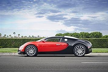 Lovely Bugatti Veyron Left Side Red U0026 Black HD Poster Super Car 18 X 12 Inch Print