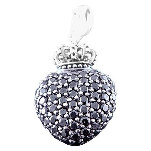 Thomas sabo t 0035-051-11 couronne avec pendentif en forme de cœur en argent et zircone noir
