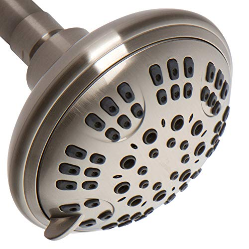 ShowerMaxx | Luxury Fixed Shower Head in Brushed Nickel Finish | Self Cleaning Nozzle Heads with 6-Settings Control | High Pressure Powerful Jets with Massage Spray | Wall Mount Adjustable Showerhead by ShowerMaxx