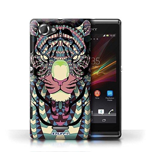 Etui / Coque pour Sony Xperia L/C2105 / Tigre-Couleur conception / Collection de Motif Animaux Aztec