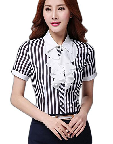 e916ee94edcd7 Aro Lora Women's Shirt Sleeve Striped Ruffled OL Work Shirt Blouse XX-Large  black - Buy Online in Oman. | aro lora Products in Oman - See Prices, ...