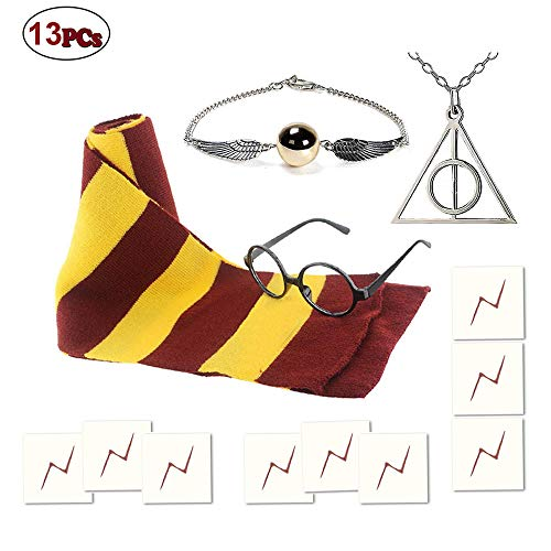 The Golden Snitch Halloween Costume (Striped Scarf Wizard Glasses with 9pcs Lightning Bolt Tattoos,Deathly Hallows Golden Snitch Necklace for Kids Halloween Christmas Cosplay Party Costumes Accessories Kid's)