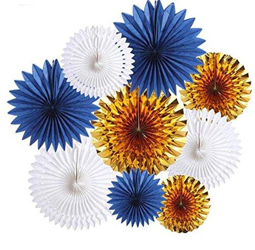 - Decorative Wedding Paper Crafts 20/30/40CM 9PCS(Navy Blue Gold White)Paper Fans | Paper Rosettes | Navy Blue Fan | Baby Shower Decorations | Wedding Backdrop | Paper Pinwheels | Paper Fan Backdrop |