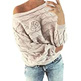 Clearance Deal! Sunyastor Womens Flower Casual Knitted Sweater Multicolor Striple Pullover Long Batwing Sleeve Tops