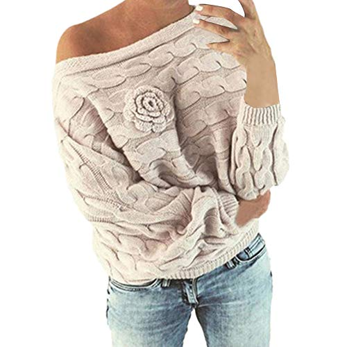 - Knited Sweater,Women's Flower Casual Long Sleeve Slash Neck Pullover Knitwear by-NEONESUN Beige