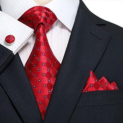 Landisun 10F Geometric Pattern Mens Silk Tie Set: Tie+Hanky+Cufflinks