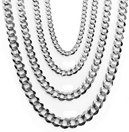 14K Solid White Gold Cuban 8.5mm Chain 20