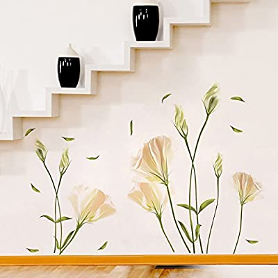 Flower Wall Stickers – Lilly Wall Decal – Flower Vinyl Wall Décor – White Flower Wall Decals – Peel and Stick by Dooboe