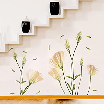 Amazon flower wall stickers lilly wall decal flower vinyl flower wall stickers lilly wall decal flower vinyl wall dcor white flower wall mightylinksfo
