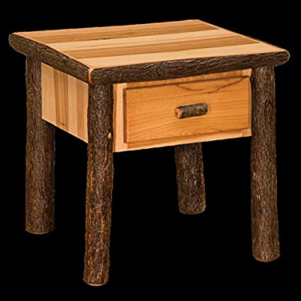 Charmant Hickory One Drawer End Table Real Wood Western Lodge Rustic Cabin