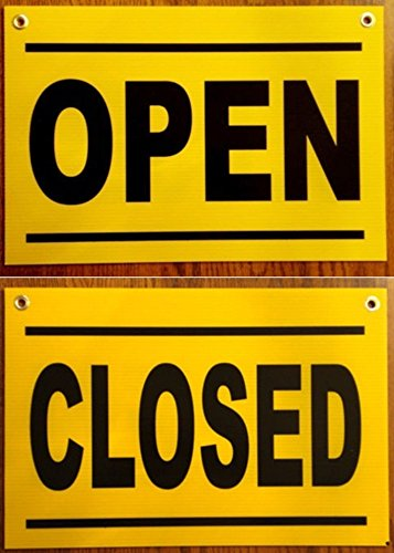 1Pc Rousing Unique Open and Close Signs Coroplast Hanging Business House Printed Lawn Pole Indoor Poster Home Hour Large Outdoor Side Doors Holder Door Hanger Size 12