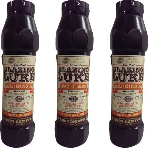 The Real Blazing Luke Barbecue Sauce Smokey Hot Cocktail 3 Flaschen á 750ml (Grill-Sauce)