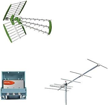 Kit de antena digital terrestre DVBT UHF + VHF 6 elementos HD + mezclador Offel filtro LTE de fabricación italiana