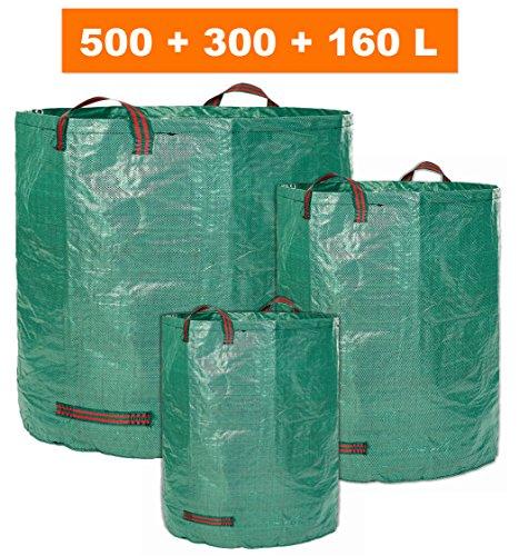 GloryTec 3x Gartensack 160l, 300l und 500l - 3 Premium Gartensäcke im Set | Stabile Gartenabfallsäcke aus extrem robustem Polypropylen-Gewebe (PP) 150gsm | Selbststehende und faltbare Laubsäcke