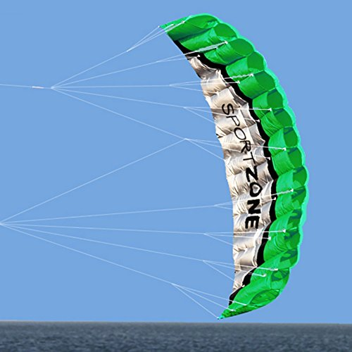 [Smartcoco 2.5m Software Dual Line Parafoil Stunt Kite Flying Tools Surf Rainbow Sports Beach Green] (Ghostbusters Costume Homemade)