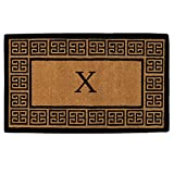 Home & More 180091830X The Grecian Extra-Thick Doormat, 18'' x 30'' x 1.50'', Monogrammed Letter X, Natural/Black