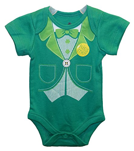 KISS ME! St. Patrick's Suit and Tie Baby Boys' Bodysuit Dress Up Outfit (Newborn) (Leprechaun Outfits)