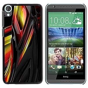 Be Good Phone Accessory // Dura Cáscara cubierta Protectora Caso Carcasa Funda de Protección para HTC Desire 820 // Liquid Metal Yellow Black Red Abstract Sharp