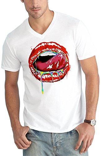 Lick Lips V-Neck White Certified Freak