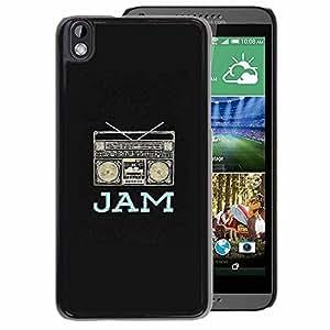 A-type Arte & diseño plástico duro Fundas Cover Cubre Hard Case Cover para HTC DESIRE 816 (Jam Boom Box Music Dj Black Rap Speaker)