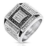 Paula & Fritz Stainless Steel Ring Surgical Steel 316L Square with Micro Zirconia Black, colorless Alternating - Size = 63 (20.1) - [R-H5751-11]