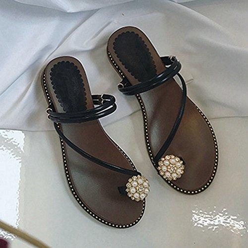 Sandale Sandale Été Peep des Flip Bracelet Noir Diapositive Femmes Romaines Flop Fleur Sandales Plat Plage Polyvalente rqrf40