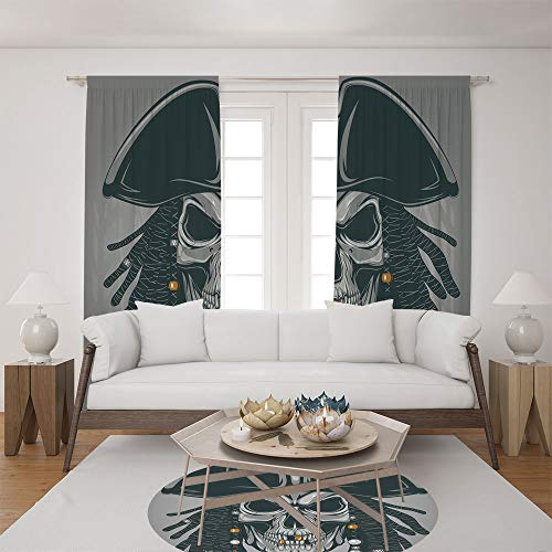 ndow Drapes Living Room Curtains and Round Rug 35.4 inches,Corsair with Rasta Hair and Iconic Hat Filibuster,The perfect combination of curtains and Round Rug makes your living roo ()