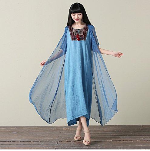 bluee XIURONG Female Summer Embroidery Silk Flax Dress Big Code Loose Dress Long Skirt