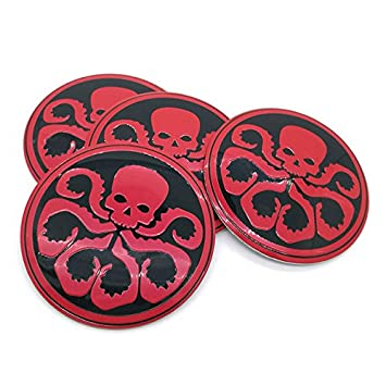 Red 4pcs lot 56mm hydra skull aluminum sticker car steering tire wheel center car
