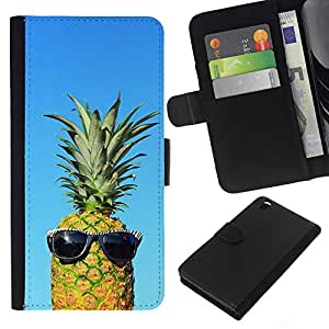 KingStore / Leather Etui en cuir / HTC DESIRE 816 / Ananas Mec Weed 420