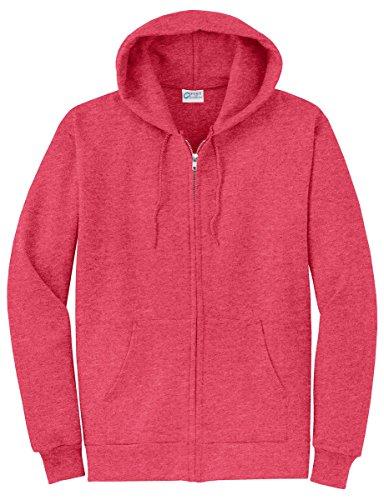 Port & Company Men's Classic Full Zip Hooded Sweatshirt 3XL Heather Red (Red Classic Hoody Sweatshirt)