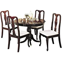 Acme 06005 5-Piece Queen Ann Dining Set, Cherry Finish, 42-Inch