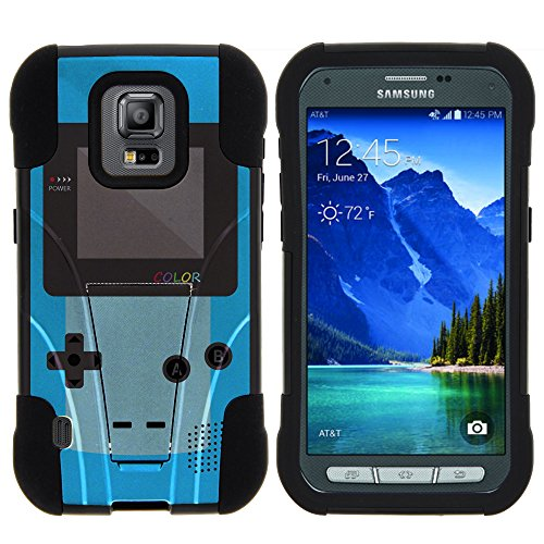 Samsung Galaxy S5 Active Stand Case, S5 Active Dual Shell, G870 Case [STRIKE IMPACT] Bumper Case Dual Fusion Action Silicone Hard Kickstand Shell by Miniturtle - Blue Gameboy