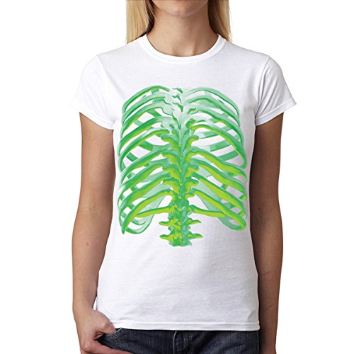 Huesos Luminiscentes Espalda Verde Mujer Camiseta M-2XL Nuevo Blanco
